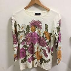 JIM THOMPSON SIZE MEDIUM COLORFUL Shirt Floral Top Shirt Long Sleeves  | eBay