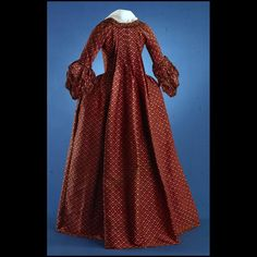 Rust-color silk lampas gown with chenille trim (back), European (possibly French), ca. 1770.