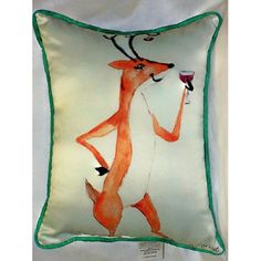 Deer Party Art Outdoor Pillow 15in x 19in by Betsy Drake