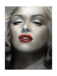 size: Art Print: Marilyn: Red Lips by Shen : Marilyn Monroe Painting, Some Like It Hot, People Art, Lip Art, Baby Cats, Red Lips, Wood Print, Framed Artwork, Movie Stars