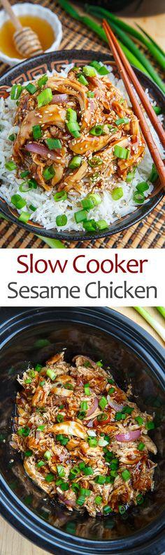 Slow Cooker Honey Garlic Sesame Chicken