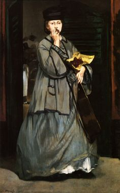 """Manet paintings don't get more mysterious than this one.  Read about """"The Street Singer"""" at http://www.themasterpiececards.com/famous-paintings-reviewed."""