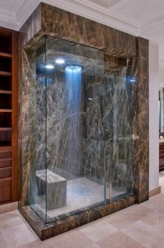master bathroom Rain Shower Bathroom, Big Shower, Jacuzzi Bathroom, Master Bathroom, Jacuzzi Tub, Bathroom Floor Tiles, Master Shower, Cold Shower, Dream Shower