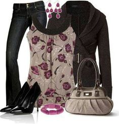 Really love this outfit!  I would love a pair of simple black jeans that don't attract EVERYTHING!  Purse is cute, don't like the heels.