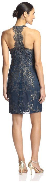 Marchesa Notte Women's Metallic Lace Cocktail Dress, Teal, 16 US