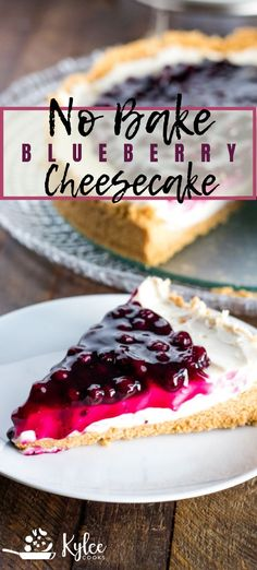 No Bake Cheesecake is a creamy, decadent dessert that comes together quickly, and is super easy! Mix up the topping to be cherry, strawberry or apple! #nobake #summerdesserts #cheesecake #dessert #recipe #kyleecooks