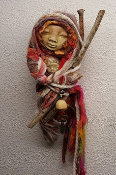 White Birch Gypsy Moon Bohemian Spirit Mabon Goddess by awesomeart Spirit Sticks, Worry Dolls, Spirited Art, Paperclay, Assemblage Art, Textiles, Fabric Dolls, Doll Face, Art Techniques