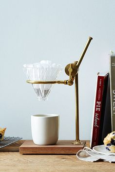 The Coffee Registry Brass & Walnut Pour Over Coffee Stand - The Prettiest Metal Homewares To Make Your Shelves Shine - Photos
