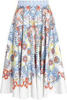 Temperley London Pavan printed stretch-cotton skirt | THE OUTNET