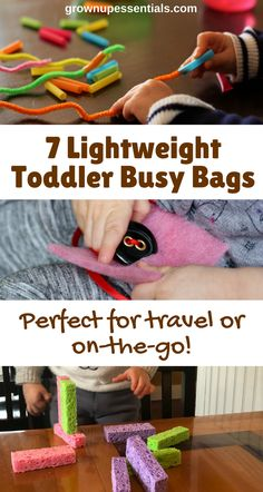 Wouldn't it be magic if your toddler could quietly entertain herself at restaurants? Well busy bags ARE that magic. Here I list 7 busy bags I actually use that don't add weight to my diaper bag. Toddler Busy Bags, Toddler Crafts, Toddler Toys, Baby Toys, Toddler Games, Toddler Activity Bags, Infant Activities, Preschool Activities, Toddler Travel Activities