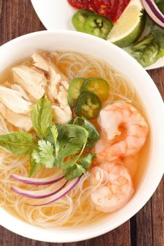 Chicken and Shrimp Pho ~ Vietnamese Chicken Noodle Soup - Pho, a Vietnamese noodle soup with about 100 different versions, is just as much, if not mor. Shrimp Pho Soup Recipe, Chicken Soup Recipes, Easy Soup Recipes, Cooking Recipes, Healthy Recipes, Pho Soup Recipe Easy, Dinner Recipes, Rice Noodle Soups, Noodle Bowls