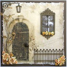Chipboard (really fancy chipboard!) embellishments to create a scene. Love all the little details on this.