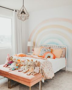 I'm so excited to share Isla's rainbow themed bedroom with you all! I basically let her take the lead on this one and she did such a wonderful job. We chose to use colors in soft muted shades and… Big Girl Bedrooms, Little Girl Rooms, 4 Year Old Girl Bedroom, Cool Girl Rooms, Little Girls Playroom, Children Playroom, Cool Kids Bedrooms, Kids Interior, Interior Modern