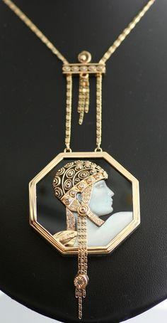 "Remarkable Erte ""Aventurine State"" Pendant Necklace in 14k Yellow Gold   eBay"