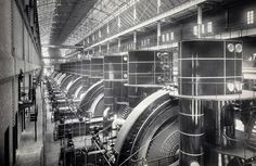 TRANSIT POWER: interior view of the Interborough Rapid Transit Company (IRT) subway powerhouse, 58th to 59th Street, ca. 1904. (Courtesy NYC Municipal Archives) #
