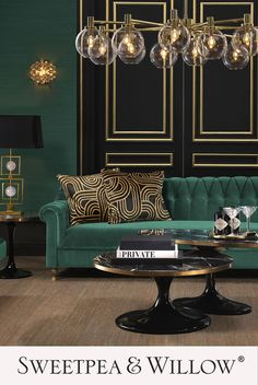 A glamorous statement sofa, upholstered in a gorgeous green velvet with buttoning details, ideal for modern and contemporary home decor. The rich green velvet makes this sofa the pergect piece for any opulent living room. #sweetpeaandwillow Dark Green Living Room, Green Rooms, Living Room Modern, Living Room Decor, Green Living Room Sofas, Living Rooms, Green Velvet Sofa, Green Sofa, Green Lounge