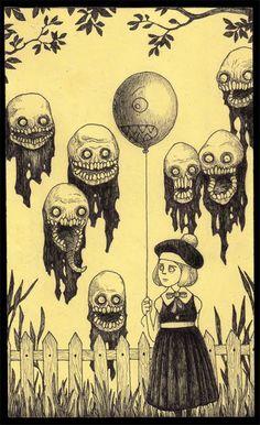 출처:호러베스트 horrorbest.com 포스트잇에 그린 악몽 - Jon Kenn Mortensen