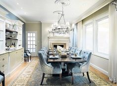 What was once an empty space with seating for four is now a contemporary and classic, Old World-inspired dining room. Courtesy HGTV