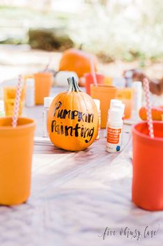 Let kids have fun this Fall with some pumpkin painting this rustic Thanksgiving party! See more party ideas  and share yours at CatchMyParty.com #thanksgiving #pumpkins