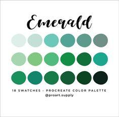 Green Colour Palette, Color Palettes, Etsy App, Digital Illustration, Swatch, Blue Green, Emerald, Nursery, Branding