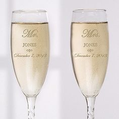 Mr. and Mrs. Collection Personalized Champagne Flute Set