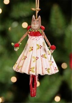 Patience Brewster Krinkles Mini Grace Rose on Her Toes Cat Ornament 08 30581 | eBay