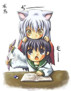 InuYasha Chibi fan art - InuYasha bothering Kagome while she tries to study fan art