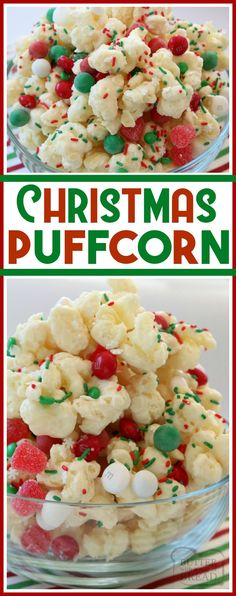 Christmas Candy Puffcorn made easy in minutes with almond bark coating buttery puffcorn & topped with festive holiday candies and sprinkles! Best neighbor gift EVER! White Chocolate coated Puffcorn for Christmas. Christmas Popcorn, Christmas Deserts, Holiday Snacks, Holiday Candy, Holiday Recipes, Easy Christmas Appetizers, Healthy Christmas Treats, Christmas Sprinkles, Christmas Recipes