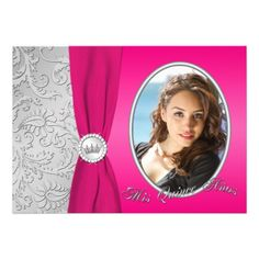 Hot Pink and Silver Photo Quinceanera Invitation