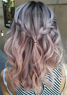 Spring Hair Colors Ideas & Trends: Silver Rose Gold Ombre Hair