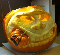 Won 2nd place in pumpkin carving contest.