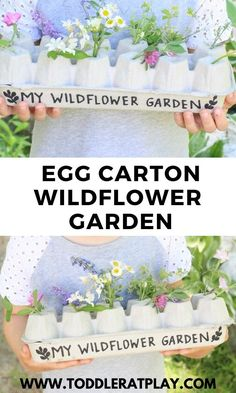 Do you save egg cartons? This Egg Carton Wildflower Garden is a fun recycled activity you have to try! #eggcartoncrafts #recycledcrafts #natureinspiredideas #kidsactivities