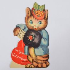 Vintage 1940s Mechanical VALENTINE Card Dressed KITTEN Cat HAT Hand MUFF Stands