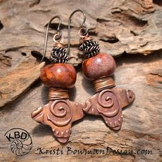 Twisted, Copper and Ceramic Bead earrings by Kristi Bowman Design. Earrings Everyday