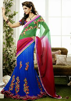 USD 137.08 Blue and Green Wedding Lehenga Saree 29098