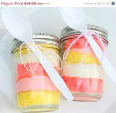 layered cake in a mason jar...I should make these for my after grad party.