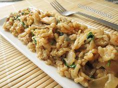 Receta de risotto con pollo, queso camembert y rúcula. Receta de arroz con queso, de origen gastronómico italiano.