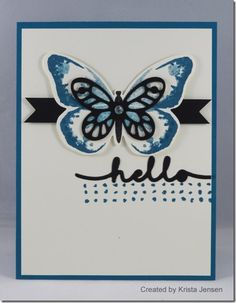 handmade butterfly card: Watercolor Wings by Krista Jensen ... black and blue on white ... like the balance ... Stampin' Up!