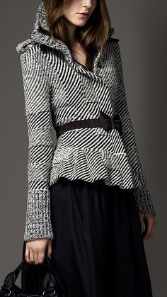 Burberry London wool cashmere peplum jacket-Fall.