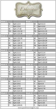 3 month Bible reading plan  Focus is Ephesians