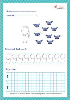 Set de fișe de lucru cu exerciții de scriere corectă a cifrelor ( 1-9) și numărul 10. se pot descărca gratuit în format PDF pentru print. Preschool Learning Activities, Kids Learning, Math 2, Numbers Preschool, Paper Trail, Worksheets, 1, Teaching, Creative