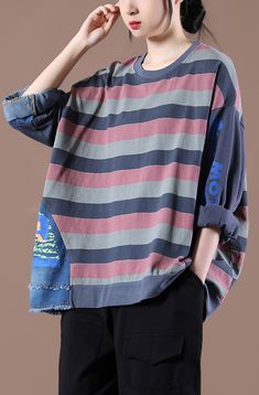 French O Neck Spring Shirts Pattern Gray Striped Tops Loose Tops, Loose Fit, New Style Tops, Striped Tops, Spring Shirts, Plus Size T Shirts, Cotton Blouses, Grey Stripes, Casual Tops
