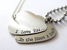 I Love You To The Moon & Back His and Hers Matching Guitar Pick Necklaces. To the moon and back matching jewelry.