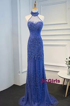 Halter prom dress, ball gown, cute high neck blue tulle long evening dress for prom 2017