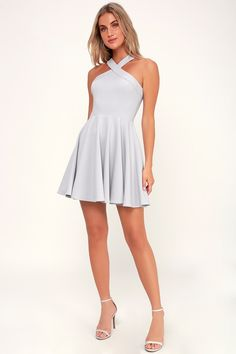 Catch their eye as you dance the night away in the Lulus The Way You Look Tonight Light Grey Halter Skater Dress! A cute medium-weight knit halter skater dress. Modest Dresses, Sexy Dresses, Cute Dresses, Short Dresses, Formal Dresses, Skater Dresses, Short Skirts, Halter Dress Short, Cute Homecoming Dresses