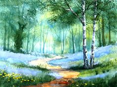 Original Watercolour Painting Bluebell Wood by Terry Harrison (watercolor)