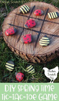 diy garden tic tac toe painted ladybug bee rocks, awesome ideas to keep kids bus. diy garden tic t Yard Games For Kids, Backyard For Kids, Diy For Kids, Backyard Ideas, Backyard Projects, Kids Yard, Backyard Playground, Backyard Games, Playground Ideas