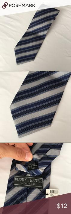 """NWT Bijoux Terner All Silk Mens Neck Tie Blue Gray Measures 4"""" wide and 60"""" long.  Excellent condition no flaws Bijoux Terner Accessories Ties"""