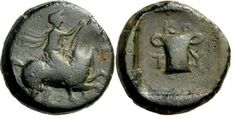 Kotys I, Kingdom of Thrace. Horseman right, arm outstretched / two-handled cup, K O T Y around