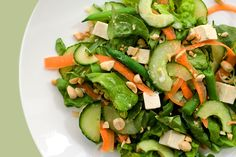 Chilled Tofu Salad with Miso-Ginger Vinaigrette.Crunchy cucumber, tender butter lettuce, and chilled cubes of tofu star in this Asian-inspired salad. Tofu Recipes, Salmon Recipes, New Recipes, Healthy Recipes, Asian Recipes, Healthy Eats, Yummy Recipes, Holiday Recipes, Vegetarian Recipes